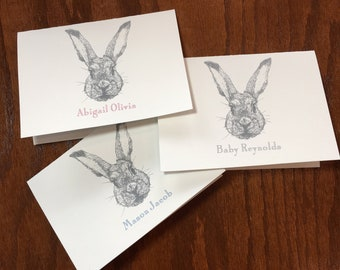 Rabbit baby thank you cards for a woodland themed nursery, boy baby shower thank you, girl baby stationery, gender neutral baby thank you