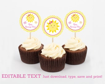 Sunshine Cupcake Toppers / You Are My Sunshine Birthday / Sunshine Birthday Party / INSTANT DOWNLOAD Editable PDF Template A220