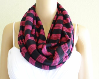 Striped Circle Scarf.Infinity Scarf