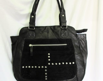 Nappa Leather and suede tote with studded detail