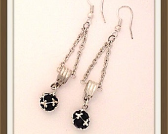 Handmade MWL black and silver dangle earrings. 0145
