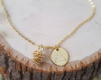 Gold mountain and pinecone necklace• Outdoor lovers• Hikers• Mountain lovers• 14K Handstamped Mountain pendant• Pinecone• Pinetrees• Climber