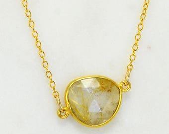 Bridesmaid Necklace - Cute Delicate Gold Necklace - Solitaire Gemstone Necklace - Minimalist Necklace - Rutilated Quartz Necklace Silver