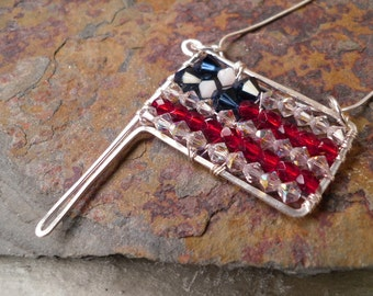 United States Flag Necklace Pendant Red White & Blue Wire Wrap Swarovski Crystal Unique Gift for Her USA Patriotic Popular American Handmade
