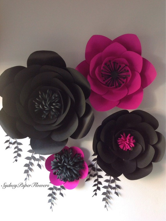Items similar to paper flowers backdrop 4 black and hot pink items similar to paper flowers backdrop 4 black and hot pink backdrop flower photoprop photography prop nursery dcor kids room decoration on etsy mightylinksfo Gallery