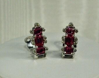 Vintage Mazer Bros Pink Rhinestone Clip Earrings, 40's Mazer Bros Earrings, Bridal Wedding Clip Earrings, Pink Clip Earrings Under 30