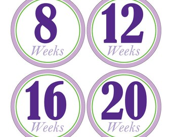 12 Weekly Pregnancy Mama-to-be Maternity Waterproof Glossy Stickers  - Monthly stickers available - Design W007-01