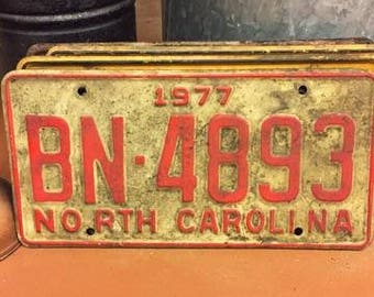 1977 North Carolina license plate