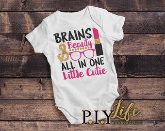 Baby |  Brains and Beauty All in ONE Little Cutie Baby Bodysuit DTG Printing on Demand