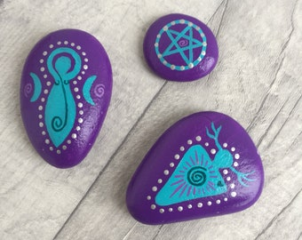 Bespoke Custom Colour Pagan Horned God and Spiral Goddess Spiritual Altar Stones Meditation *Choose Your Own Colours*