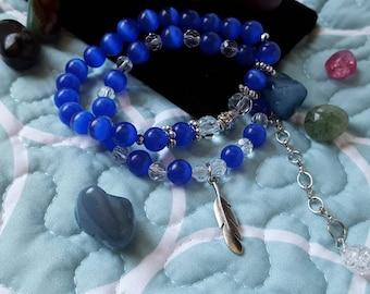 Blue Beauty Beaded Bracelet Duo