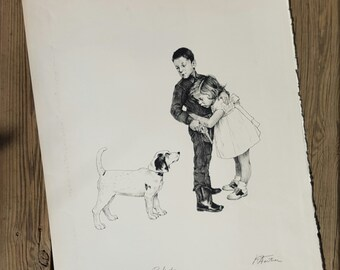 Lithograph after the 'Protection' of Norman Rockwell artwork