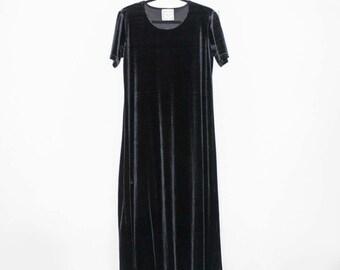 Black Velvet Long Maxi Dress