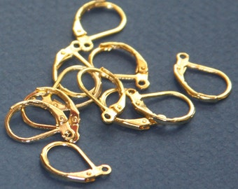 24 pcs of Gold  plated leverback earwire 10X15mm