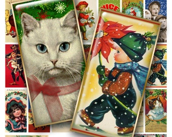 1x2 Inch RETRO CHRISTMAS WHIMSY Digital Printable Domino collage sheet for Pendants Magnets Crafts...cute cats dogs kids santa