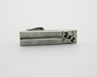 Vintage Silver Wedding Scroll Tie Clip