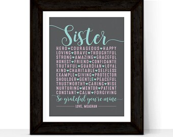 Mothers day gift for sister - birthday gift for sister - unique gift for sister - personalized wall art print - Maid of Honor Gift Sister