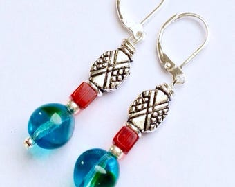 Aqua and Red Beaded Earrings on Silver Leverbacks