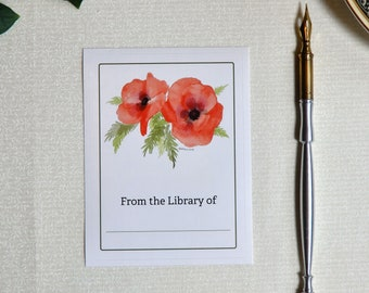 Bright Poppies set of 5 bookplates