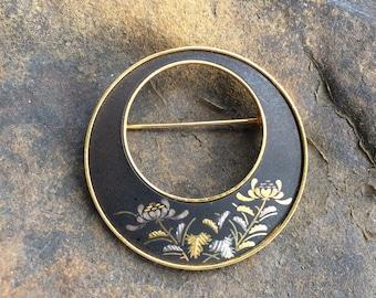 Vintage Amita Damascene Brooch Black Gold Tone Floral