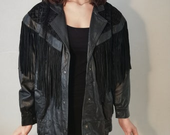 Vintage Gino di Giorgio by Comint size medium fringe suede leather jacket 90s