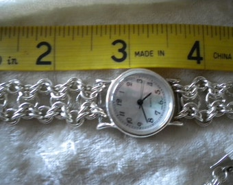 925 Sterling Silver Byzantine Chain Maille Watch