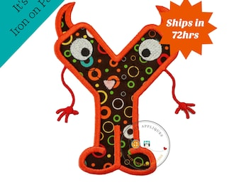 Monster letter Y applique, initial embroidered patch, bright iron on applique letter, iron on letter embellishment, iron on monogram patch