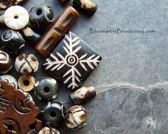 Carved Bone, Bone Bead, Tribal Bead, Assortment, Mixed, Batik Bone, Tube Bead, Spacer, Rondelle, Square Bead, Round Bead, Unique, 1 Ounce