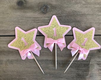 Custom 12 Pink and Gold Star Cupcake Toppers, Pink Cupcake Topper, 1st Birthday Cupcake Topper, Twinkle Twinkle Little Star,