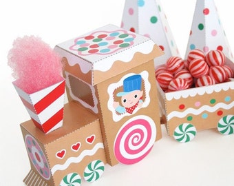 Sweet Treats Gingerbread Train Printable Paper Craft PDF