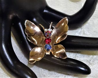 Vintage Coro Craft Sterling Gold Vermeil  Rhinestone Butterfly Brooch