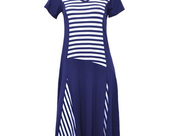 Striped dress with flared skirt 0120