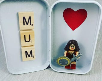 Tin//Mum//Mothers Day//Handmade/Minifigures//Gift//Personalise//Geek//Love//Wonderwoman//Super Mum//Lego//Mothers Day//Birthday/