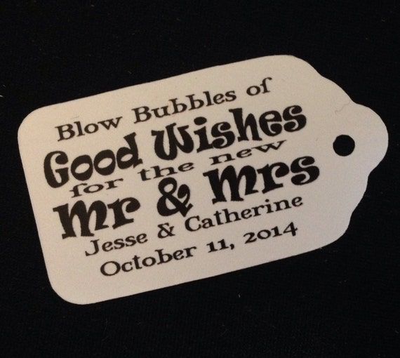 "Blow Bubbles of GOOD WISHES Choose your quantity SMALL 2"" Favor Tag"