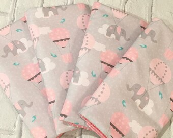 Elephants Cot Bar Bumpers - Pink and Grey - Hot Air Balloons and Clouds - Cot Bedding, Nursery Decor