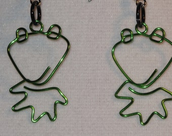 Wire Wrapped Kermit The Frog Earrings Small MADE to ORDER