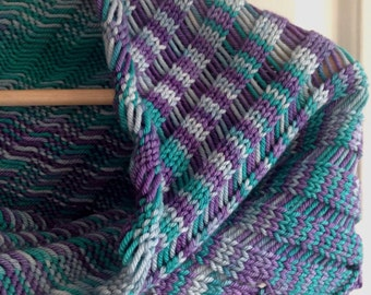 Periwinkle asymmetric scarf, hand knit scarf, hand dyed artisan yarn, purple, soft grey and green.