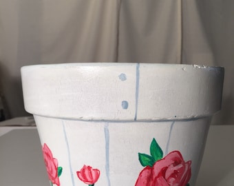 """Rambling Rose 6"""" tall 8 inch wide hand painted flower pot"""