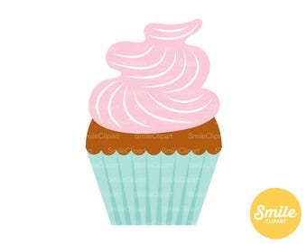 Pink Frosted Cupcake Clipart Illustration for Commercial Use