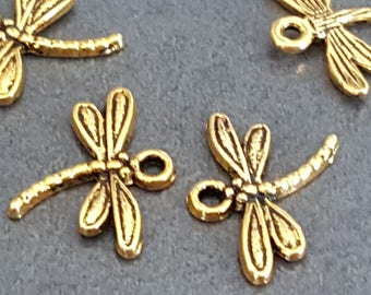 Dragonfly of life charm pendant 15 x 20 mm, metal, antique gold Dragonfly jewelry dragonfly