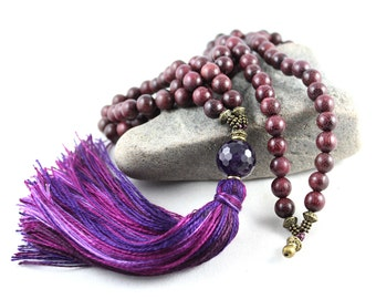 Purple Heart Mala, Amethyst Mala, Peltogyne Mala, Tassel Mala, Tassel Necklace, Japa Mala, Prayer Beads, Gem Mala, Yoga Style, Prayer Bead
