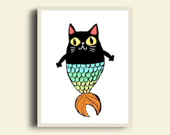 Mermaid Cat Printable poster