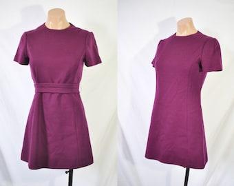 Vintage 70s Purple Mod Dress Mini Scooter Dress Belted Secretary Dress Spring Party Dress Classy Office Dress Mad Men Dress Twiggy Dress