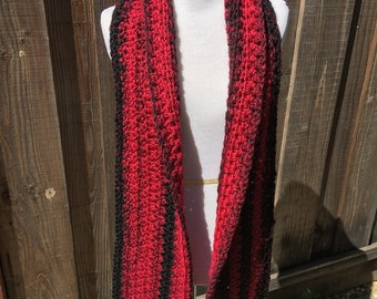 Red and Black Scarf; Black and Red blend Scarf; Winter Scarf; Warm Scarf; Magenta Multi Scarf; Long Scarf; Open Scarf; Fall Scarf;