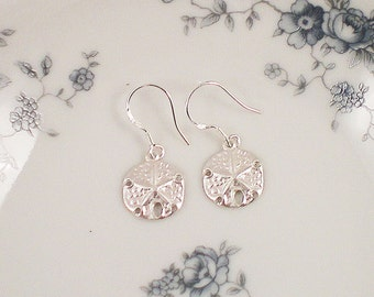Sand Dollar Earrings,  Sterling Silver Sand Dollar, Hypoalergenic Sterling Silver Hoop,  Beach Wedding, Bridesmaid Gift