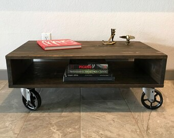 Modern Industrial Coffee Table, Cart, Casters, Wheels, Rustic, Distressed,  Media Console, TV Stand, Entertainment Console