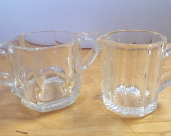 Cream and Sugar set - Indiana Pressed Glass - Peerless Colonial pattern - #165