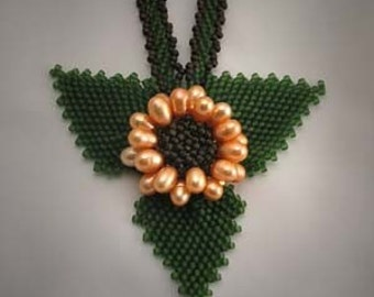 Sale Beadwoven Pearl Sunflower Necklace