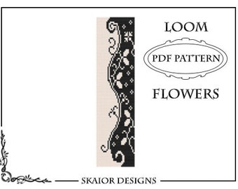 Two Tone Loom Bead Pattern Flower Square Stitch Loom Bracelet Tribal Seed Beads Floral Beading Black White Fantasy Blossom Instant Download