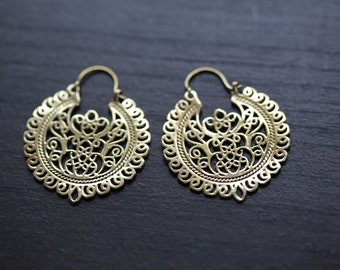 Tribal white brass hoop earrings, Brass hoops, Tribal Hoops, Ethnic earrings, Tribal Jewelry, Tribal Earrings